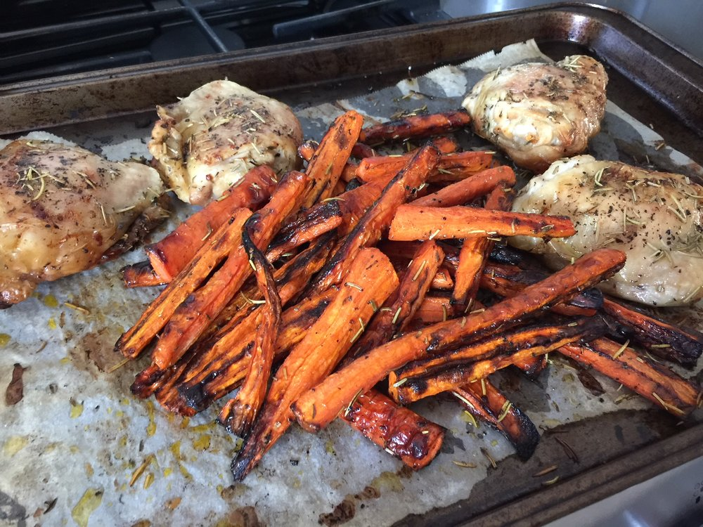 You can also make collagen carrots whilst roasting chicken thighs- this batch is done with organic rosemary, sage, sea salt, and pepper.