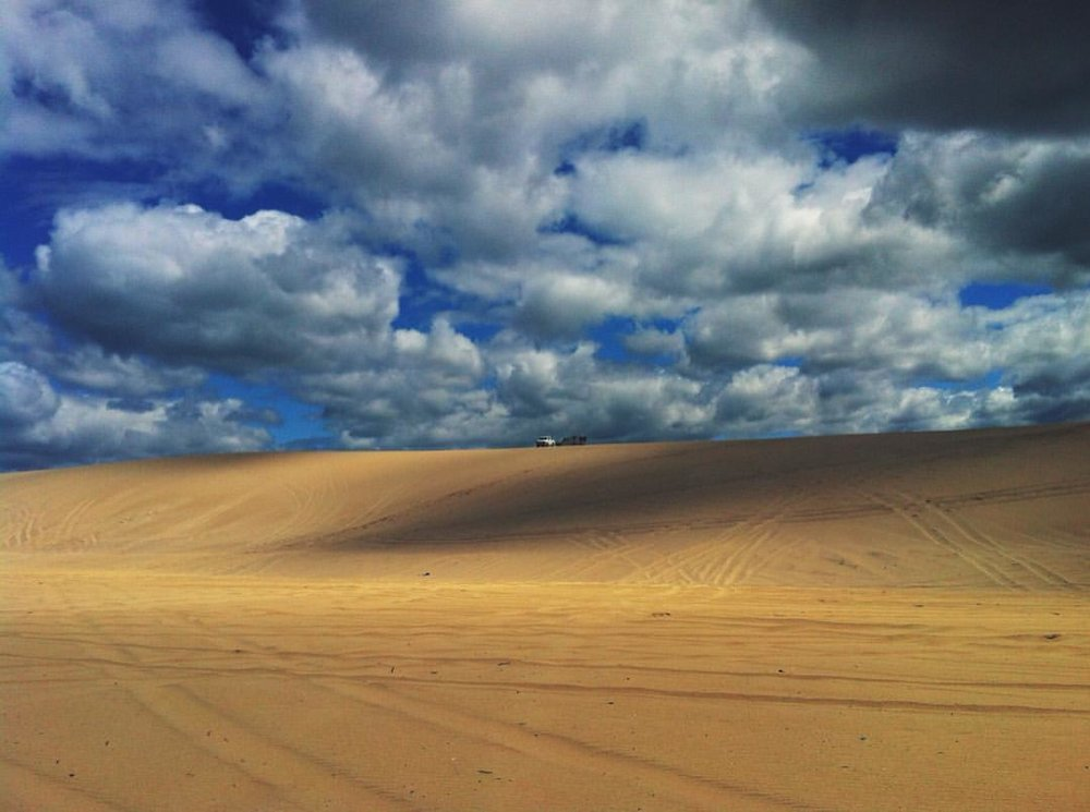Camping in the sand dunes at Redhead Lake Macquarie, near Newcastle.