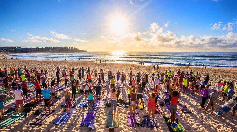 One Wave's  Fluro Friday   Sunrise Yoga at Bondi Beach.