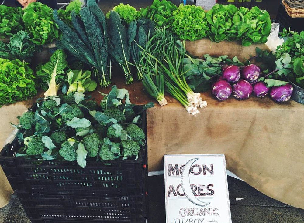 Organic produce from Moon Acres, at the EQ Village Markets.