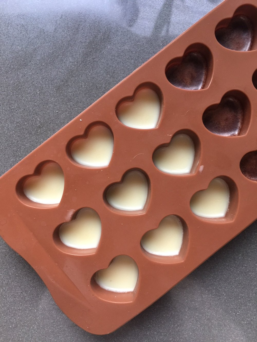 If you're making half & half, make sure you freeze it before adding the other half, or chocolates will mix.