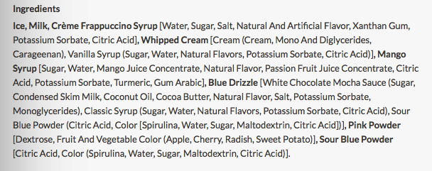 Unicorn Frap ingredients list... somehow this is legal?!