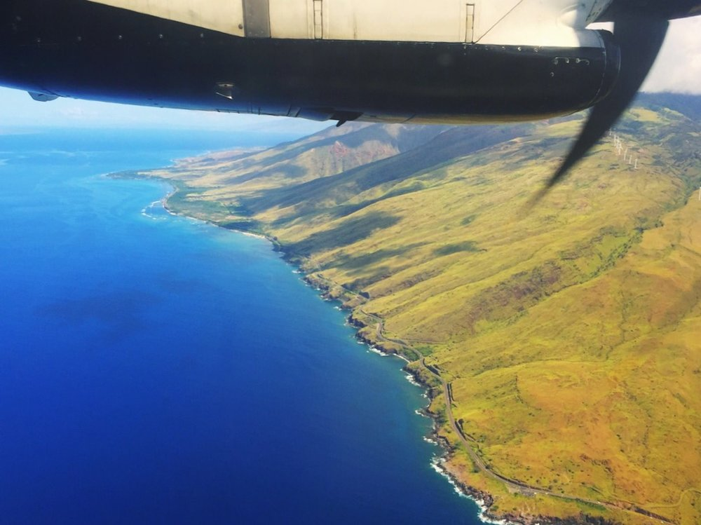 Views flying from Honolulu to Maui on a small propellor plane.