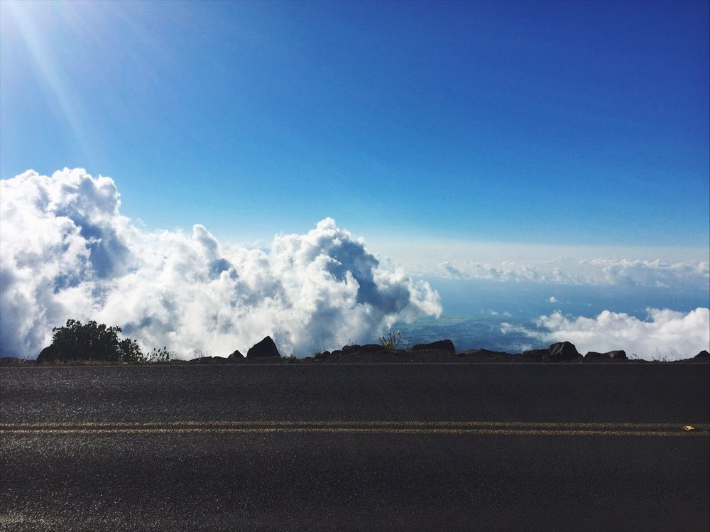 10,000 ft above sea level, driving up in the clouds on Haleakala, on Maui, in Hawaii... definitely felt like we were flying.