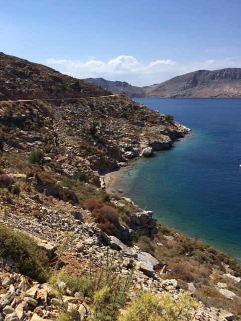 Small beach off the cliffs between the Symi harbour, and Nimborios.