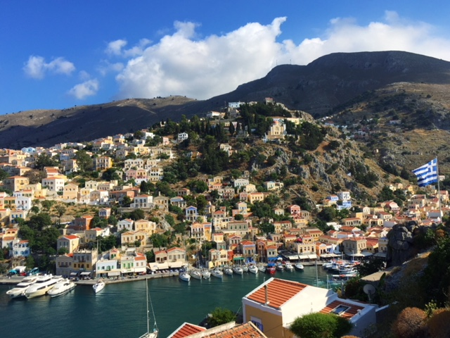 Views from the stair climb to the Greek flag, in the Symi harbour.