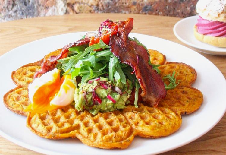 Mareva sweet potato pancakes with egg, guac, and bacon... H E L L O!