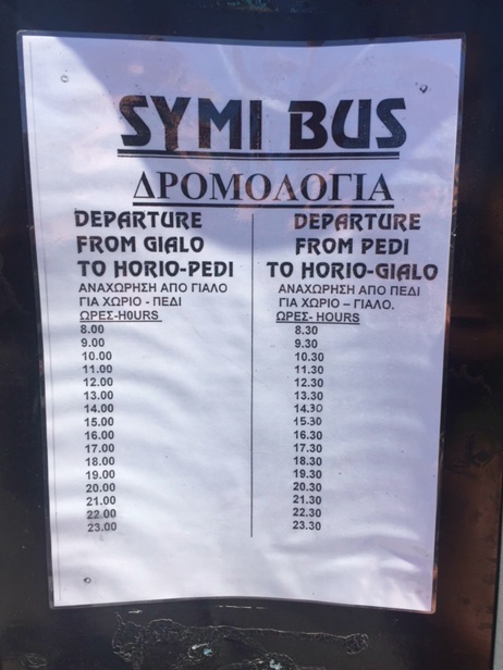 Symi bus schedule.