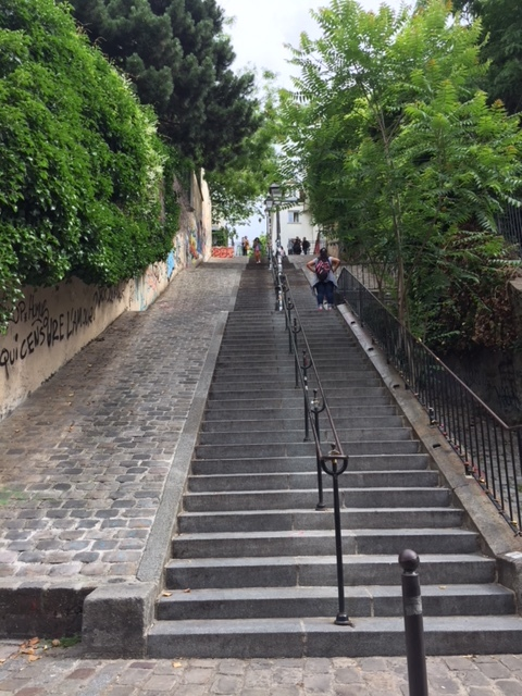 One of the many sets of stairs leading up to Montmartre.