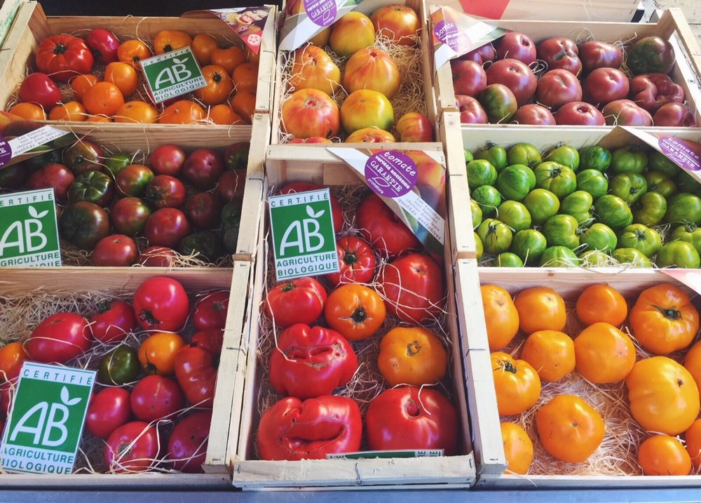 Fresh, beautiful, organic tomatoes at the Lafayette markets, in Toulon (South of France).