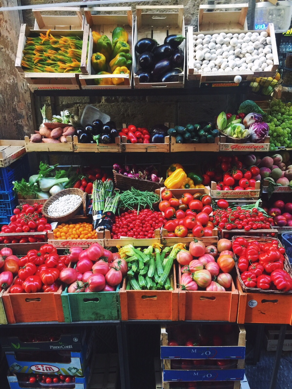 Beautiful local, organic veggies at a small market in Rome, Italy.