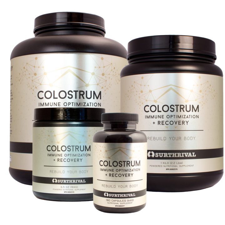 Surthrival's gut healing, immune boosting colostrum powder.   (click image for more info)