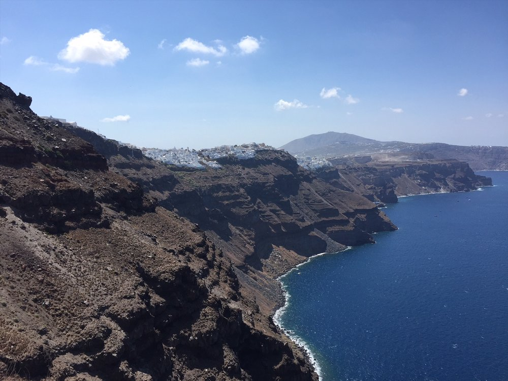 Hiking in Santorini from Fira to Oia, Greece.