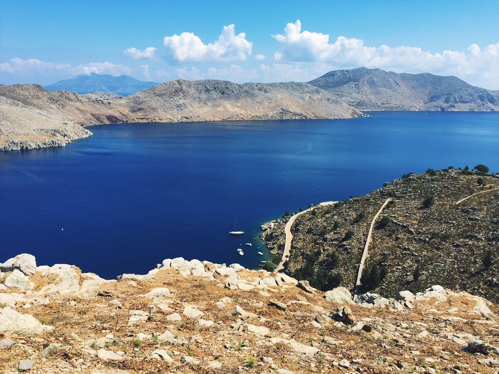 Hiking in Symi, Greece.