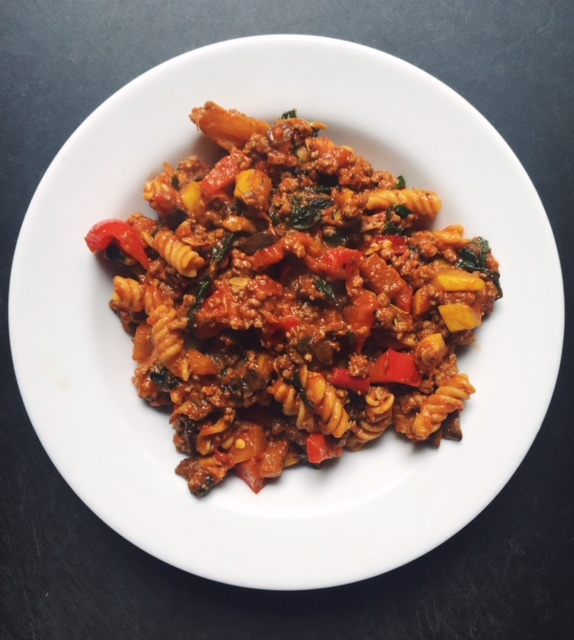 Beef bolognese with chickpea pasta, and loaded with veggies. Click image for full recipe.