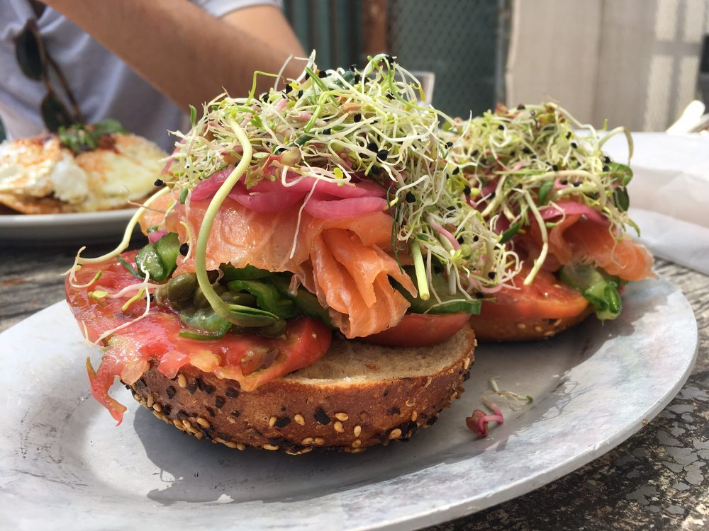Open face bagel with lox