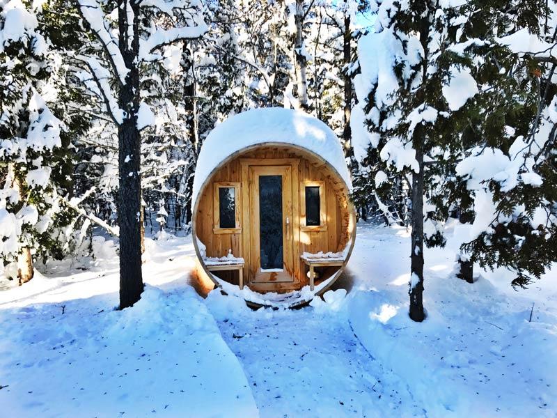 Traditional sauna at  Repère Boréal , in Québec, Canada.