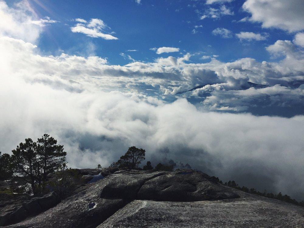 Hiking above the clouds, on Chief Stawamus, in Squamish, British Columbia. November 2018.