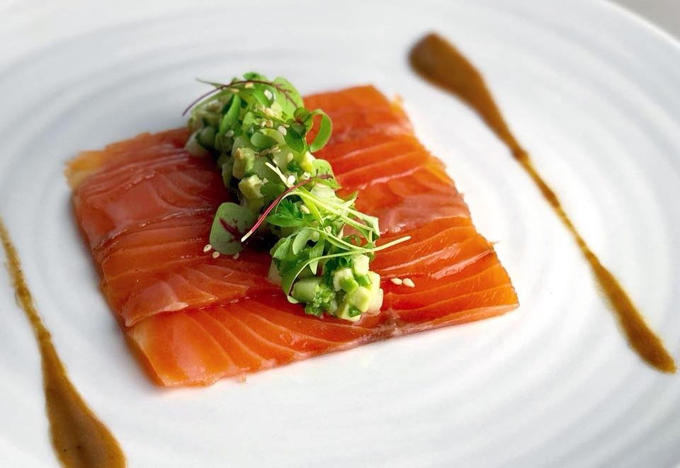 Salmon gravlax with cucumber, avocado, toasted sesame + tamarind sauce at Yew.