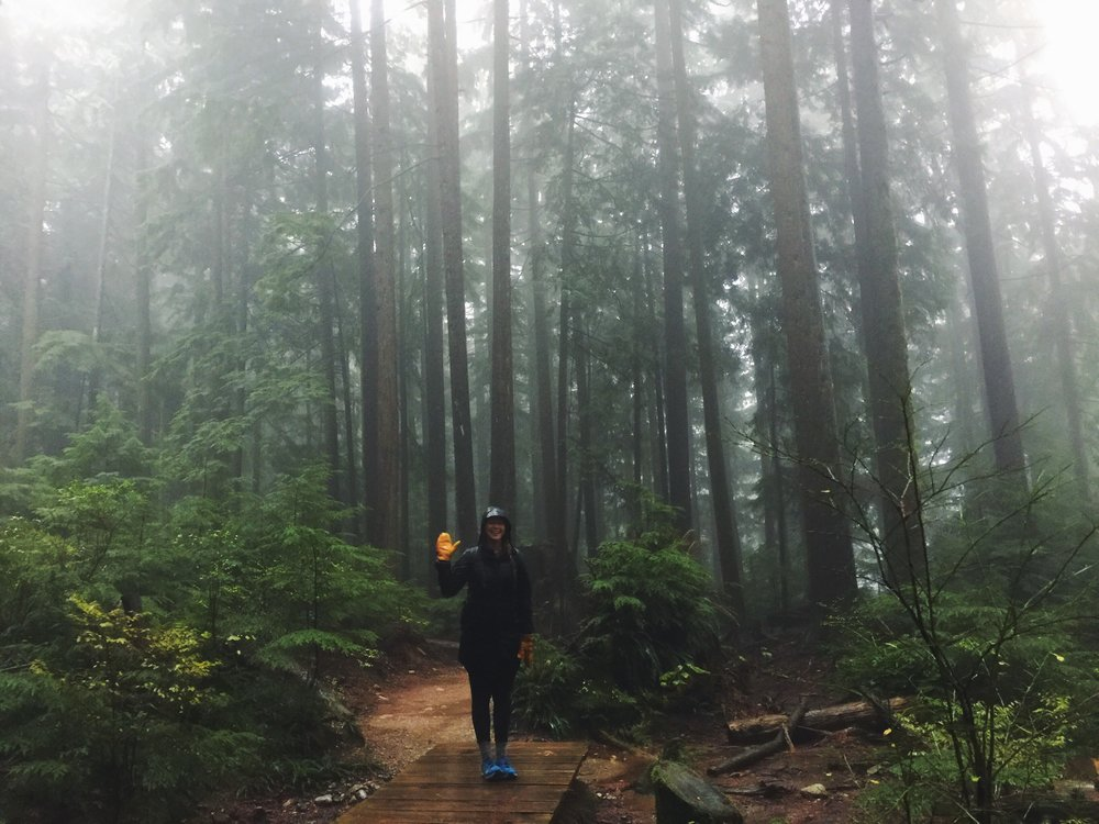 Hiking in the rain, at Norvan.