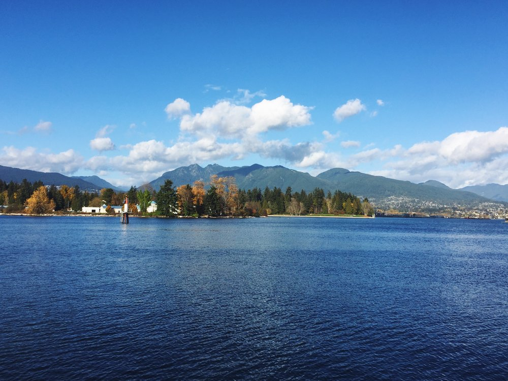 View of the North shore from the waterfront trail, downtown Vancouver.