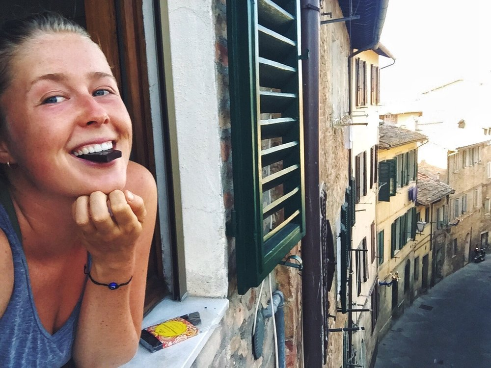 Eating some chocolate outside of my little airbnb in Siena, super affordable and the host Catarina even gave me a walking tour of the gorgeous city!