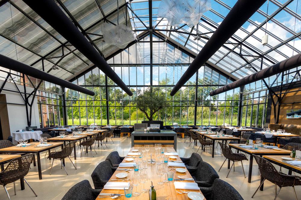 Fine greenhouse dining, at De Kas.