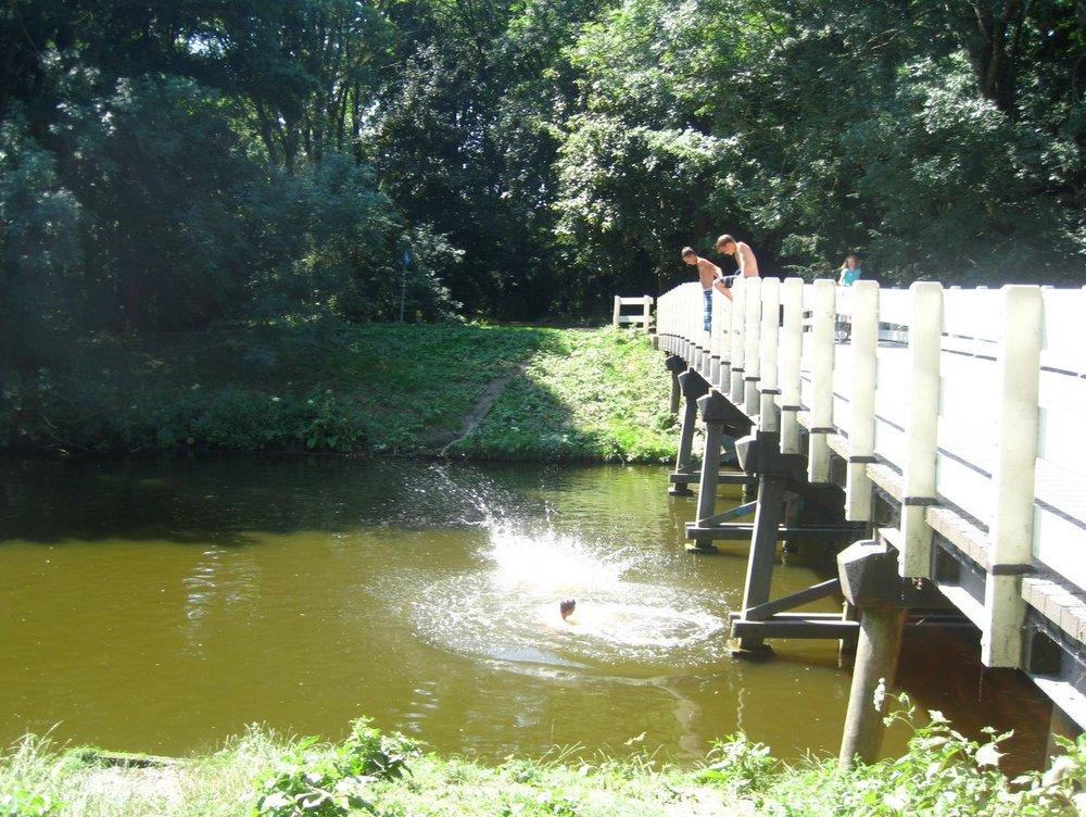 Bridge jumping at Amsterdamse Bos.