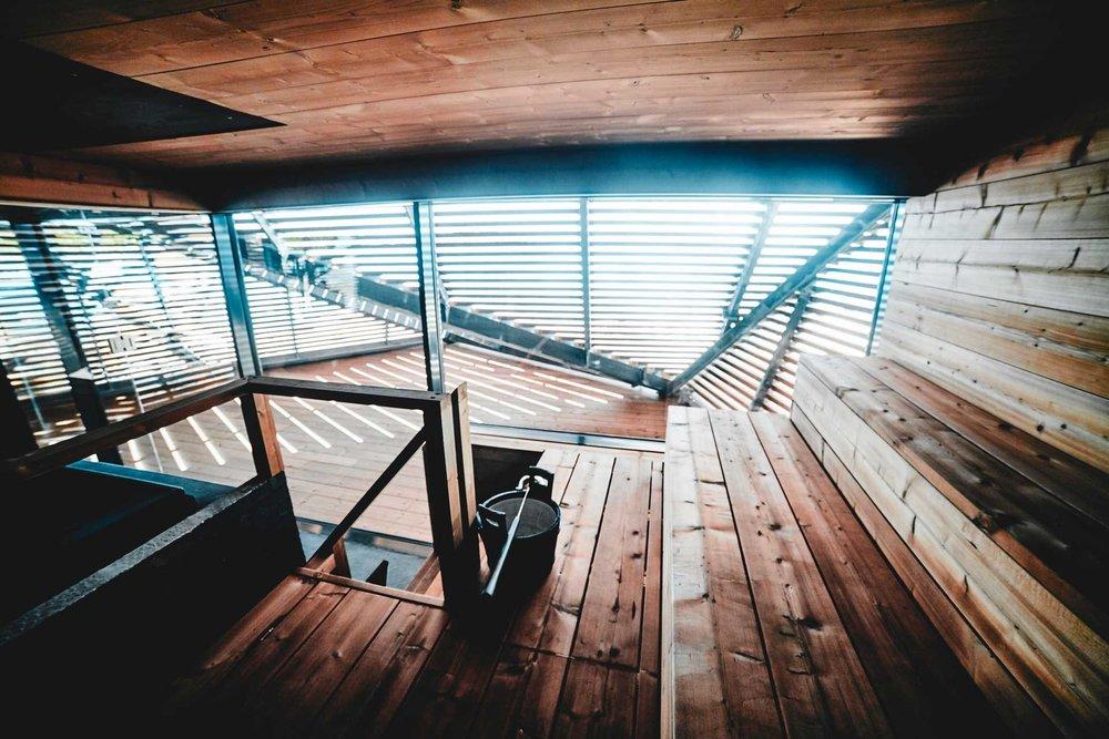 Inside the regular wood burning sauna. (Image: Löyly)