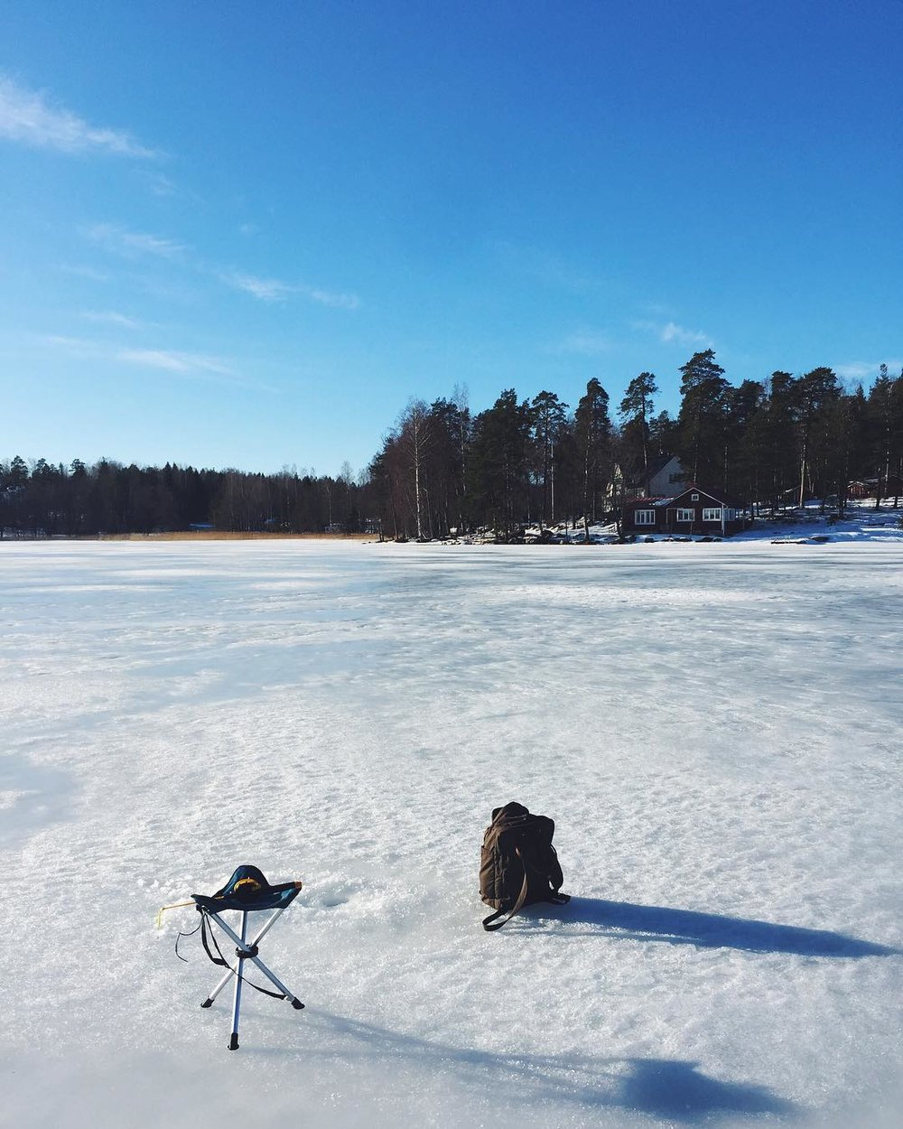 Ice Fishing for the first time, near Espoo, in Finland.