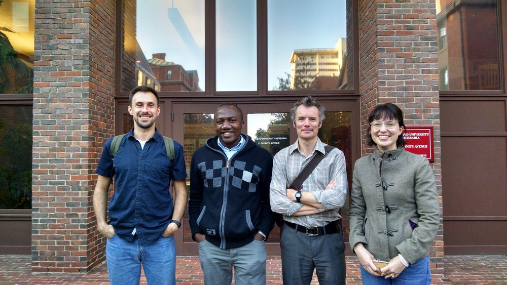 Jonathan Davies' lab at the Harvard University Herbaria: from left to right, Max Farrell, Barnabas Daru, Jonathan Davies, Emily Meineke