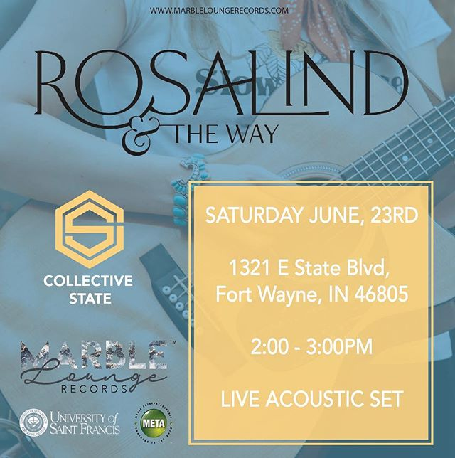 @rosalindandtheway will be playing an acoustic set at @collective_state_fw June 23rd from 2:00pm - 3:00pm this Saturday.