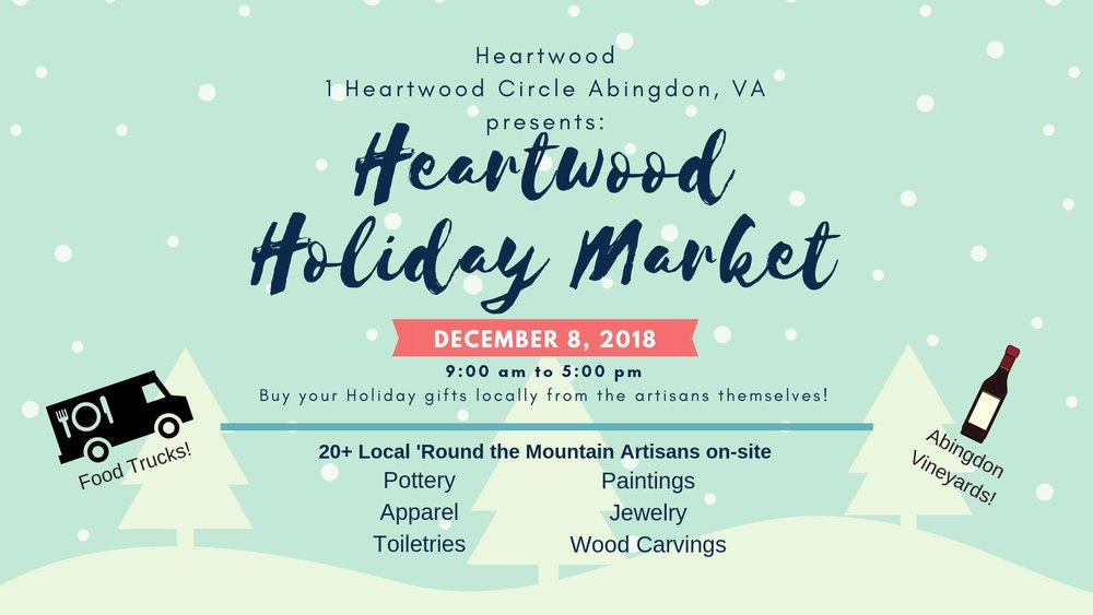 Join me Saturday, December 8 from 9:00 am - 5:00 pm at the HEARTWOOD HOLIDAY MARKET. -