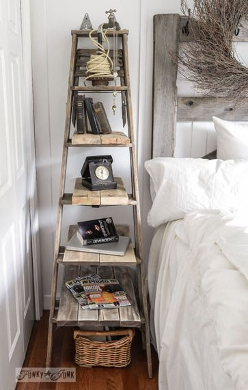 LADDERS - Don't have the space for a trunk or cart? Build up! A ladder gives plenty of space for knick-knacks on top of the popular farmhouse vibe.