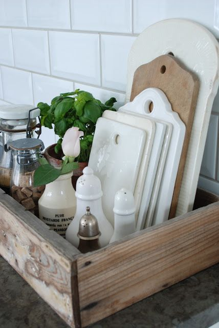 Cutting Boards - Cutting boards can add texture and depth to your space in a snap. We recommend finding and displaying aged ones on the wall while making a stack of more functional ones on an adjacent counter.