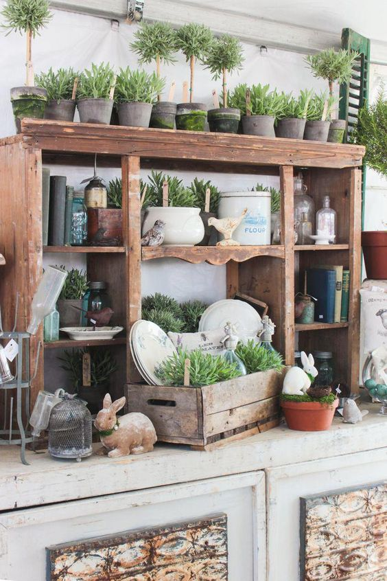 Potting Station - Antique furniture pieces can make a great new potting station on your patio! Mix, match, and build your way to a great new work area.
