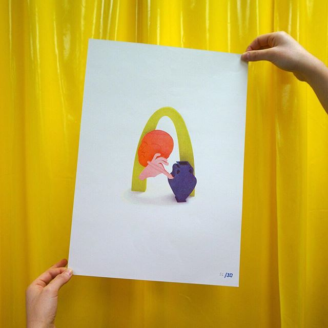 🍡 3 colour risograph print. Designed and printed for The Showroom install  in @hermanbrownvintage in June of this year.  Edition of 30 — £5 #riso #risograph #print #thankunext #printmaking #studio