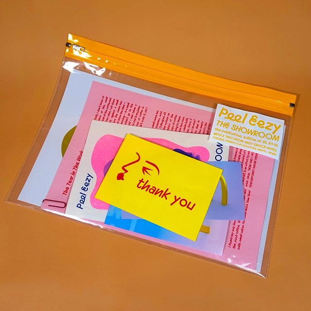 THE SHOWROOM CAPSULE COLLECTION OBJECT 1: The Publication - prints, a commissioned text from @andygracehayes, a poster, psuedo play activities and more, all housed in a oversized A4 plastic wallet 📔  SWIPE TO SEE THE PRICE FORMULA 〰️ £9.46 〰️ Edition of 30 〰️ Only 5 left in stock  #publication #thankunext #writing #story #zine #artistbook #prints #riso #risograph #poster #illustration