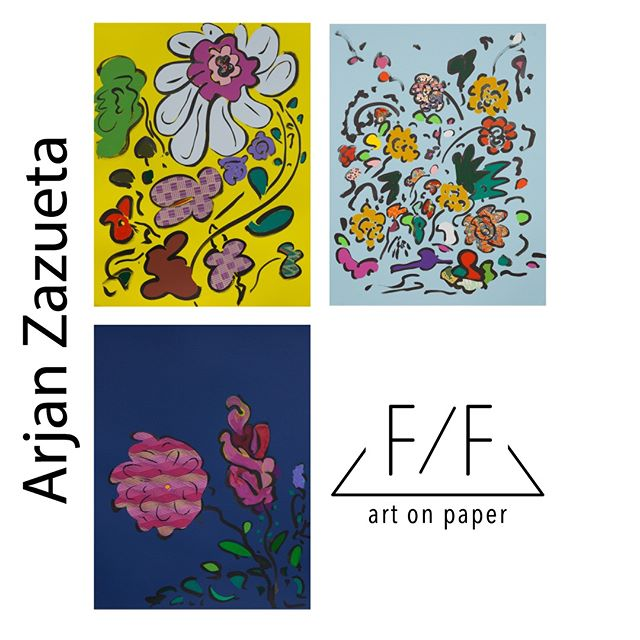 Come by the gallery or shop online . Featuring 3 of Arjan Zazueta's Flowers, mixed media on paper 😁 . @arjanzazueta #flatfileart #artonpaper #montclairnj #workonpaper #paintings #collage #artist #visualart #contemporaryart