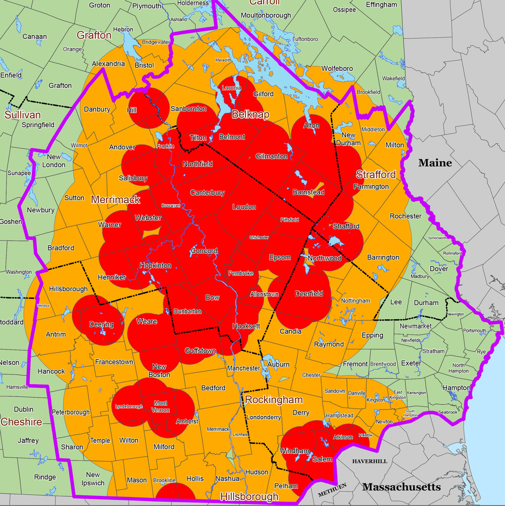 New Hampshire areas in red are generally infested by emerald ash borer, in orange are marked for potential expansion and in green are under alert, with the purple line indicating quarantine area, as of March 2. (New Hampshire Department of Natural & Cultural Resources photo)