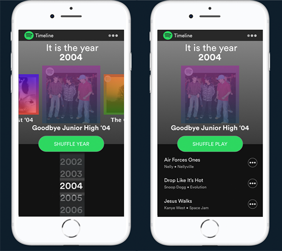 "Spotify Timeline: - Using user inputted age and location data, Spotify will create a bespoke interactive timeline that allows listeners to scroll down memory lane and revisit the soundtracks to some of their most pivotal life moments - with playlists such as ""Goodbye Junior High '04"" or ""Welcome to College '10."""