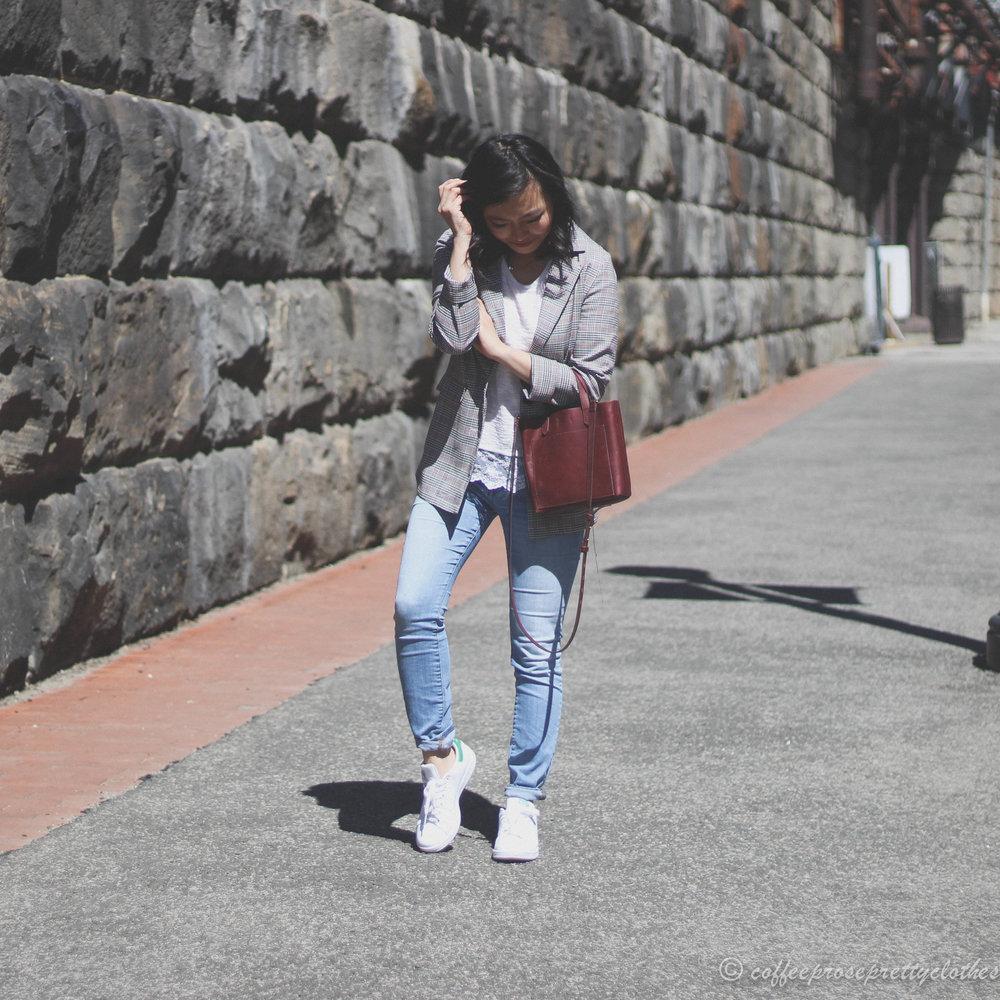 ASOS Blazer, H&M lace hem sweater, Adidas Stan Smith, Madewell Small Transport crossbody