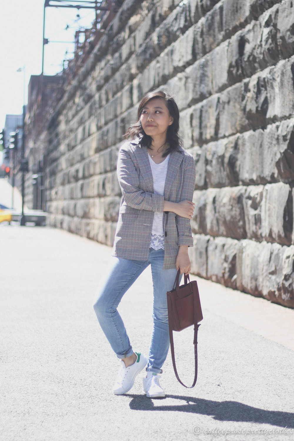 ASOS Blazer, H&M lace hem sweater, Adidas Stan Smith, Madewell Small Transport crossbody