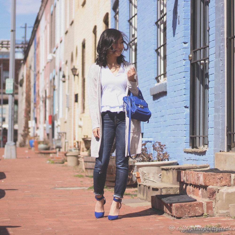 J.Crew toothpick jeans, UNIQLO longline cardigan, Zara peplum blouse
