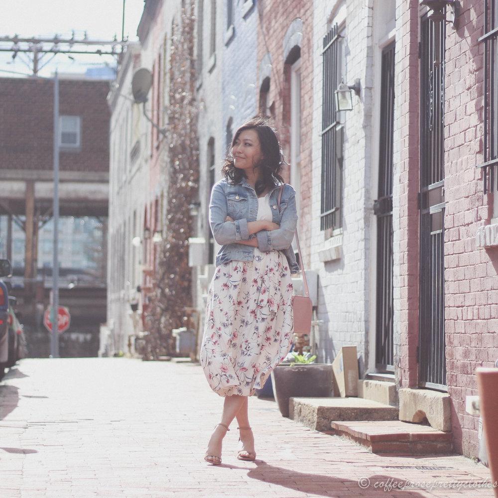 April Flowers | Floral Midi Skirt and Denim Jacket