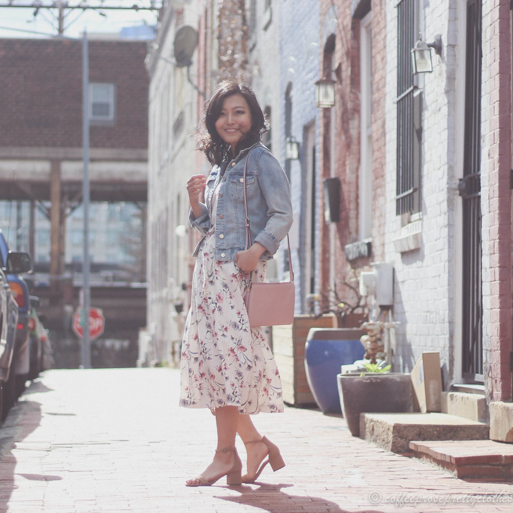April Flowers | Floral Midi Skirt and Denim Jacket