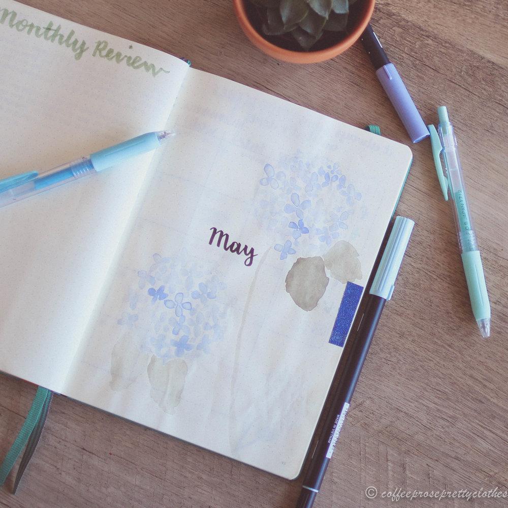 Hydrangeas theme May Bullet Journal
