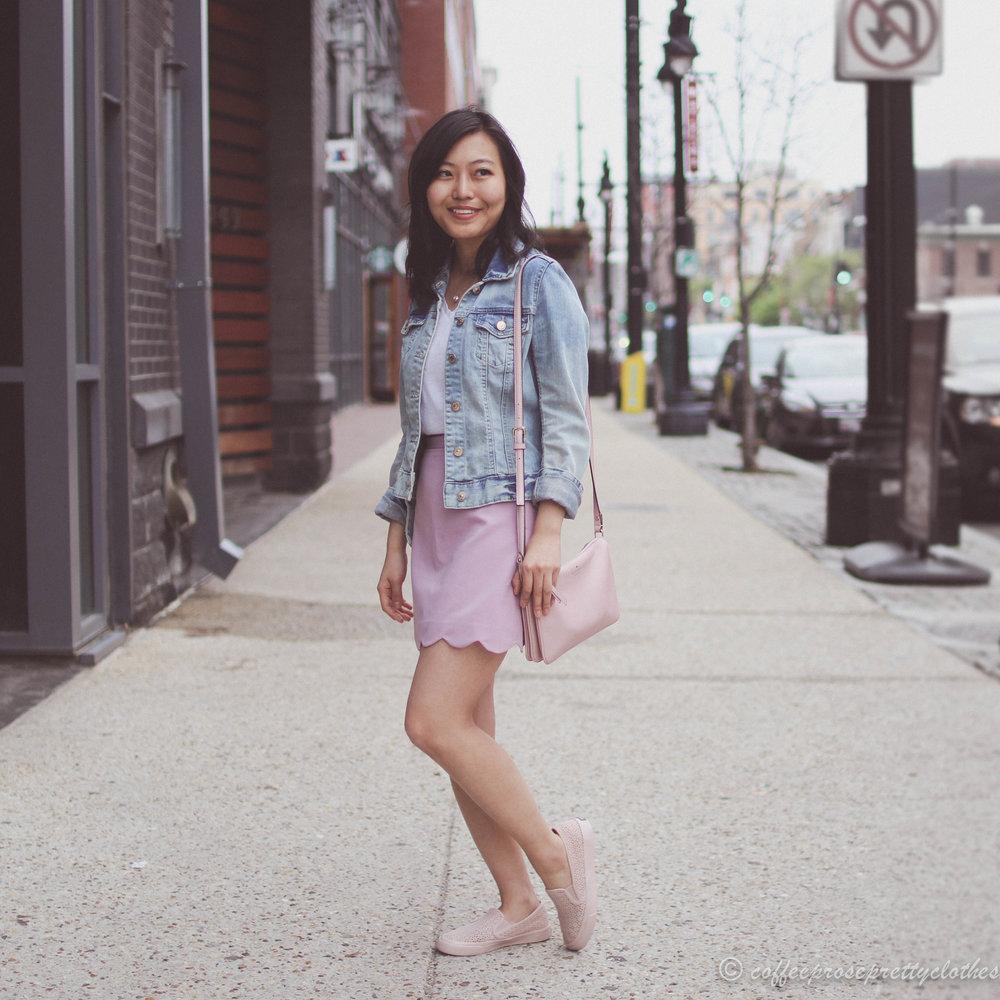 ASOS scalloped skirt, Sperry slip on sneakers, Kate Spade blush bag, H&M Denim jacket