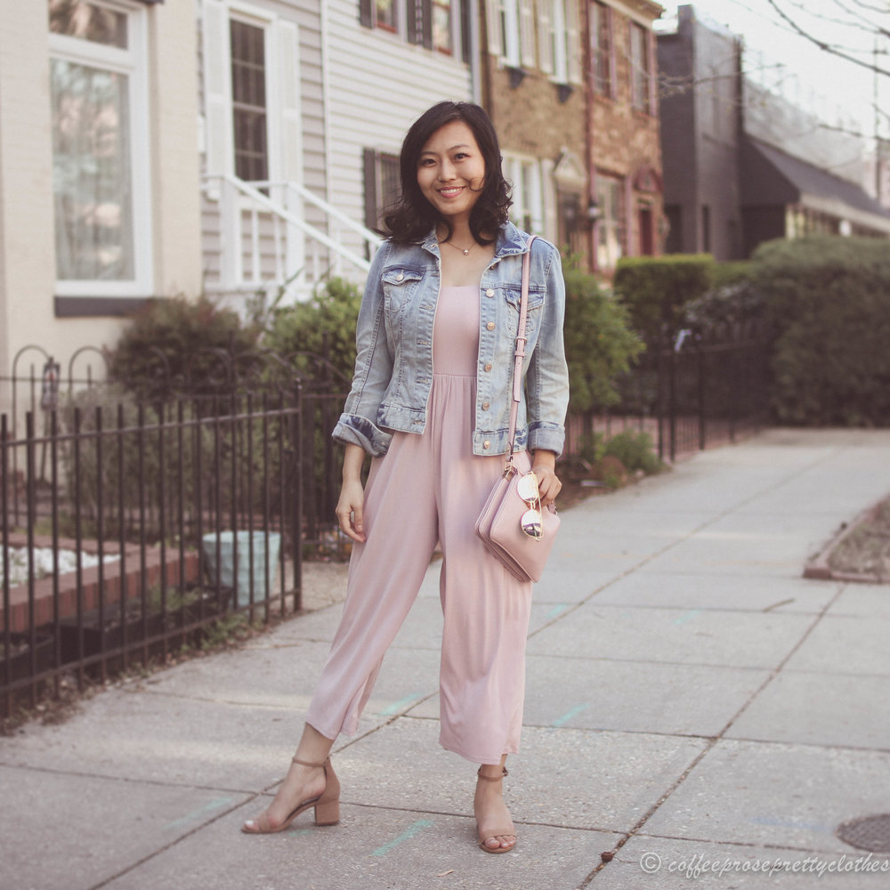 Urban Outfitters culottes jumpsuit, Steve Madden Irenee sandals, Kate Spade bag, blush outfit, H&M denim jacket