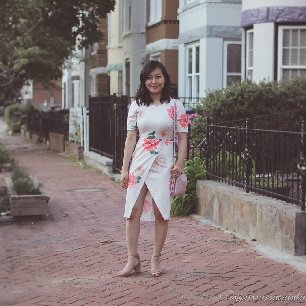 Date Night | Floral Tulip Dress and Block Heels